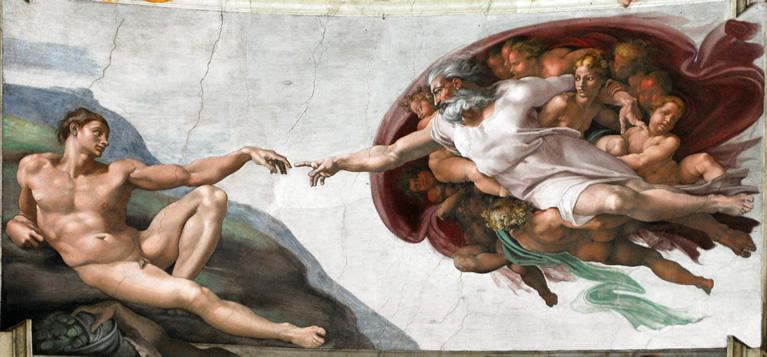 La creación de Adán con frescos de Miguel Ángel en la Capilla Sixtina de los Museos Vaticanos en Roma