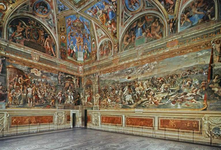 La Estancia de Constantino con frescos de Rafael en los Museos Vaticanos