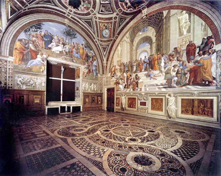 La estancia del sello pintada con frescos de Rafael en los Museos Vaticanos